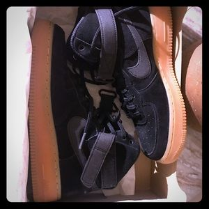 Nike Air Force One Gum BLK on BLK